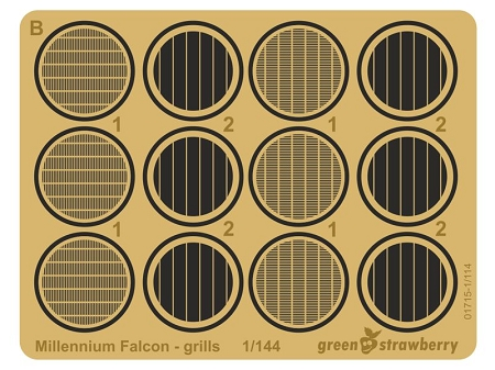 Photoetch Millennium Falcon Grills for the 1/144 Scale Bandai Model Kit by GREEN STRAWBERRY