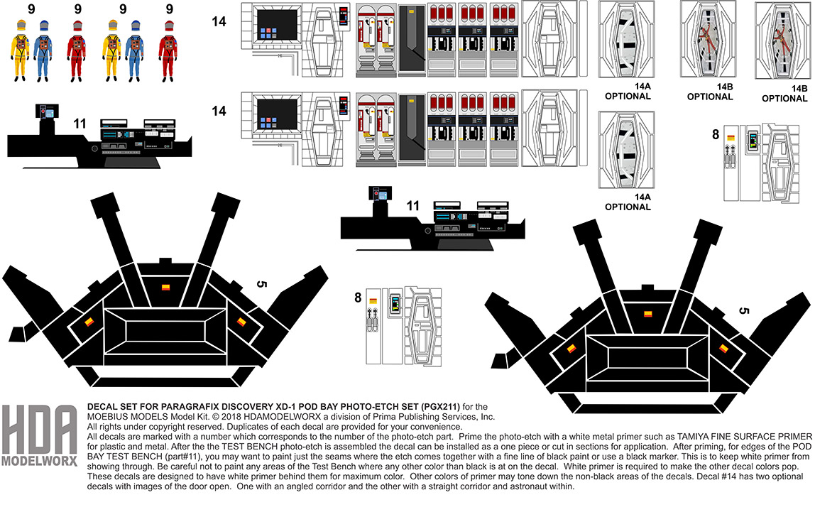 Decals for the PARAGRAFIX DISCOVERY XD-1 POD BAY Photoetch Set