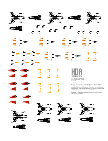 SPACE PLANE DECALS FOR BANDAI 350 SCALE YAMATO MODEL KIT