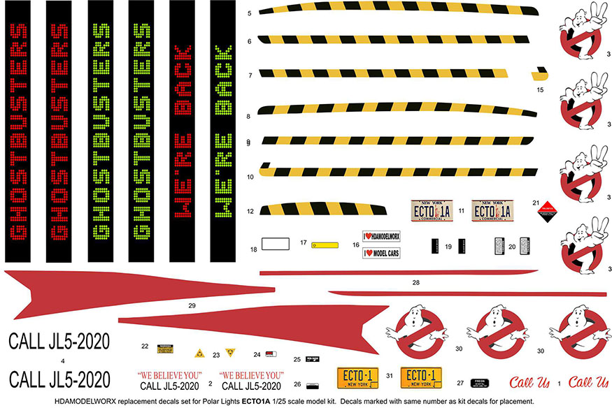 Replacement Decals for the ECTO1A from Polar Lights 1/25 Scale Model Kit by HDAmodelworx
