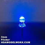 3mm FLICKER LED Blue Clear Round Top TEN Pack With Resistors for 12v