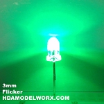 3mm FLICKER LED Green Clear Round Top TEN Pack With Resistors for 12v