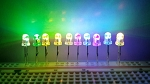 3mm RGB LED Slow Color Changer Clear Round Top TEN Pack With Resistors for 12v