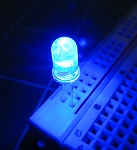 5mm FLICKER LED Blue Clear Round Top TEN Pack With Resistors for 12v