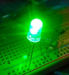 5mm FLICKER LED Green Clear Round Top TEN Pack With Resistors for 12v