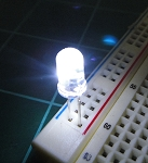 5mm FLICKER LED White Clear Round Top TEN Pack With Resistors for 12v
