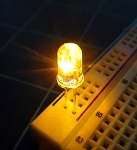 5mm FLICKER LED Yellow Clear Round Top TEN Pack With Resistors for 12v