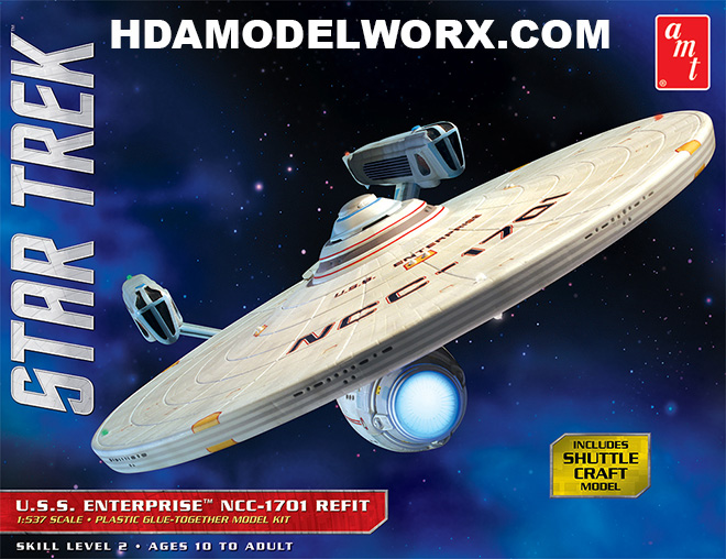 Star Trek USS ENTERPRISE NCC-1701 REFIT 1:537 Scale Model Kit by AMT/Round2