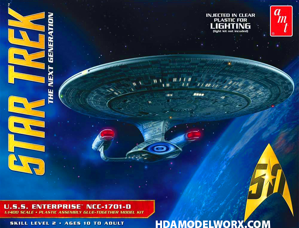 Star Trek The Next Generation USS ENTERPRISE NCC-1701-D 1:1400 Scale CLEAR  EDITION Model Kit by AMT/Round2