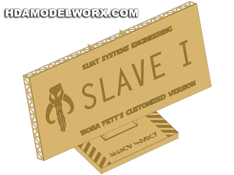 "Photo-etch Label/Plaque for  ""Boba Fett´s SLAVE I"" for model base by GREEN STRAWBERRY"