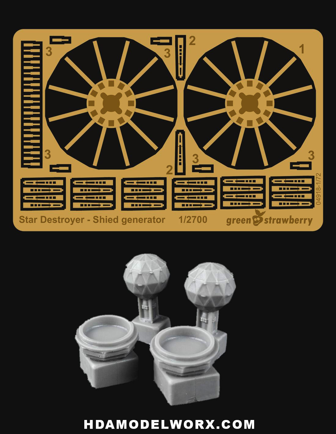 Star Destroyer Shield Generator Resin and Photoetch Detail Set for the  Zvezda / Revell 1/2700 Scale Model kit by GREEN STRAWBERRY
