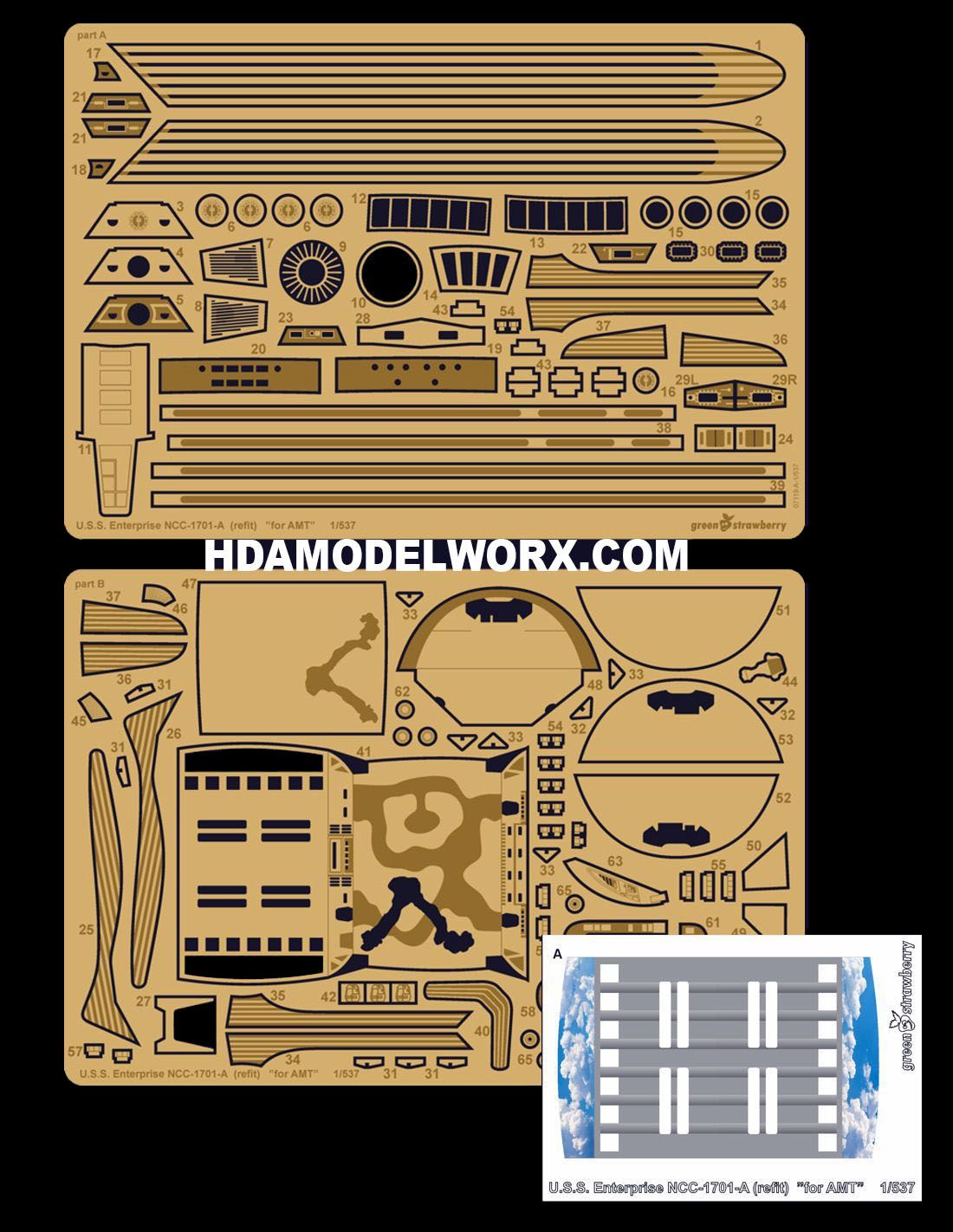 U.S.S. Enterprise NCC-1701-A (refit) photoetch set for the AMT 537 Scale Model Kit by GREEN STRAWBERRY