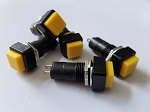 Yellow Button Square Top Momentary Switch 2 Pack