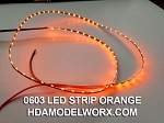 LED 0603 STRIP ORANGE (72 LEDs) 0.5m 1.8-2.2vdc with power connectors soldered at both ends!
