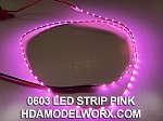 LED 0603 STRIP PINK (72 LEDs) 0.5m 3-3.3vdc with power connectors soldered at both ends!