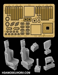 COLONIAL RAPTOR SEATS Photoetch and Resin Detail set for the Moebius Model Kit by GREEN STRAWBERRY