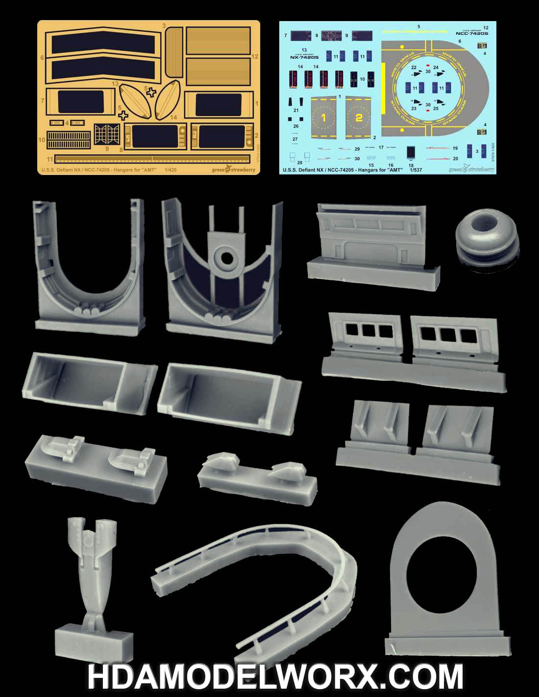 USS DEFIANT NX-74205 - HANGARS Photo etch, Resin, and Decal Set for the 1/420 Scale AMT Model Kit by GREEN STRAWBERRY
