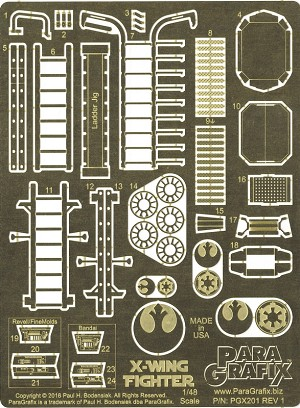X-Wing Fighter Photoetch Set 1/48 scale for the kits from Revell, FineMolds, and Bandai by Paragrafix