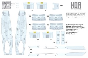 "537/600 SCALE USS ENTERPRISE ""A"" BLUE STRONGBACK, DEFLECTOR HOUSING AND PYLON DECALS"