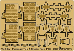 Workbee - Passenger Train and Grabber Pack 1/350  Scale Photoetch and Resin Model Kit by GREEN STRAWBERRY
