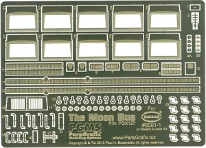 The Moon Bus Photoetch Set by Paragrafix for the 1/60 (ish) Scale Model Kit from Moebius Models or Aurora