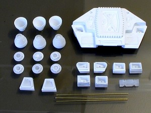 The Moon Bus Thruster & Rocket Resin Set by Paragrafix for the 1/60 (ish) Scale Model Kit from Moebius Models or Aurora