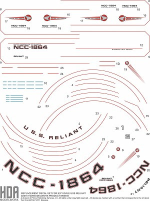 REPLACEMENT 537 SCALE USS RELIANT NCC-1864 HULL MARKINGS AND DETAIL DECAL SET