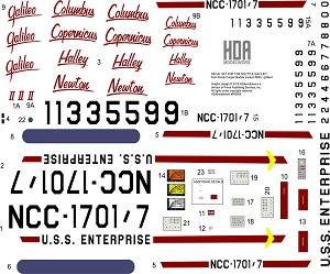 DECAL SET FOR THE RANDY COOPER TOS GALILEO RESIN SHUTTLE CRAFT MODEL KIT