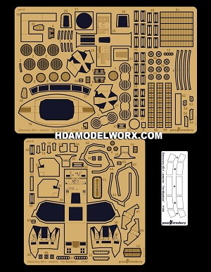 Discovery XD-1 Cockpit & Exterior photoetch set for the Moebius Scale Model Kit by GREEN STRAWBERRY