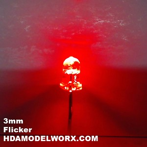 3mm FLICKER LED Red Clear Round Top TEN Pack With Resistors for 12v