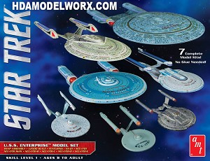 Star Trek USS ENTERPRISE BOX SET 1:2500 Scale Model Kit by AMT/Round2.
