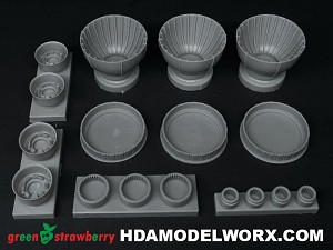 Star Destroyer Resin Engine Bells and Photoetch Set for the Zvezda/Revell 1/2700 Scale Model Kit by GREEN STRAWBERRY