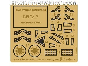 Photoetch for the Delta-7 Starfighter 1/144 Scale Bandai Model Kit by GREEN STRAWBERRY