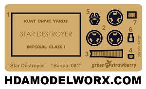 Star Destroyer Detail Photoetch Set for Bandai 001 Mini Model Kit by GREEN STRAWBERRY