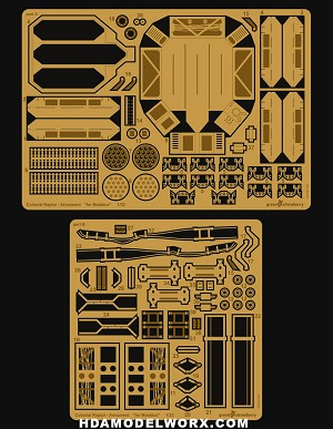 Photoetch for the BSG Colonial Raptor Armament Set for the 1/32 Scale Moebius Model Kit by GREEN STRAWBERRY