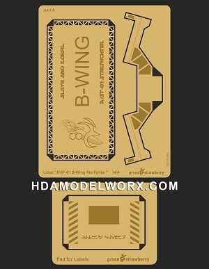 "Photo-etch Label/Plaque for ""B-WING STARFIGHTER"" for model base by GREEN STRAWBERRY"