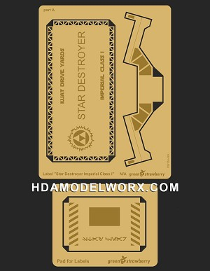"Photo-etch Label/Plaque for ""STAR DESTROYER IMPERIAL CLASS 1"" for model base by GREEN STRAWBERRY"