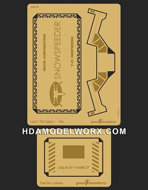"Photo-etch Label/Plaque for ""SNOWSPEEDER"" for model base by GREEN STRAWBERRY"