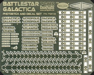 Battlestar Galactica Photoetch and Decal Set by Paragrafix for Moebius Models kit 915
