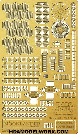 Pegasus Hobbies' 1/350 Scale MOONLANDER Spacecraft Photoetch Set by Paragrafix