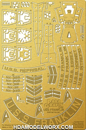 USS FRANKLIN Photoetch Set for the Moebius Model 350 Scale Kit by Paragrafix