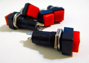 Red Button Square Top Latching On/Off Switch 2 Pack