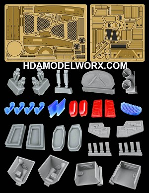 USS DEFIANT NX-74205 - ENGINES AND EXTERIORS Photo etch and Resin Detail Set for the 1/420 Scale AMT Model Kit by GREEN STRAWBERRY