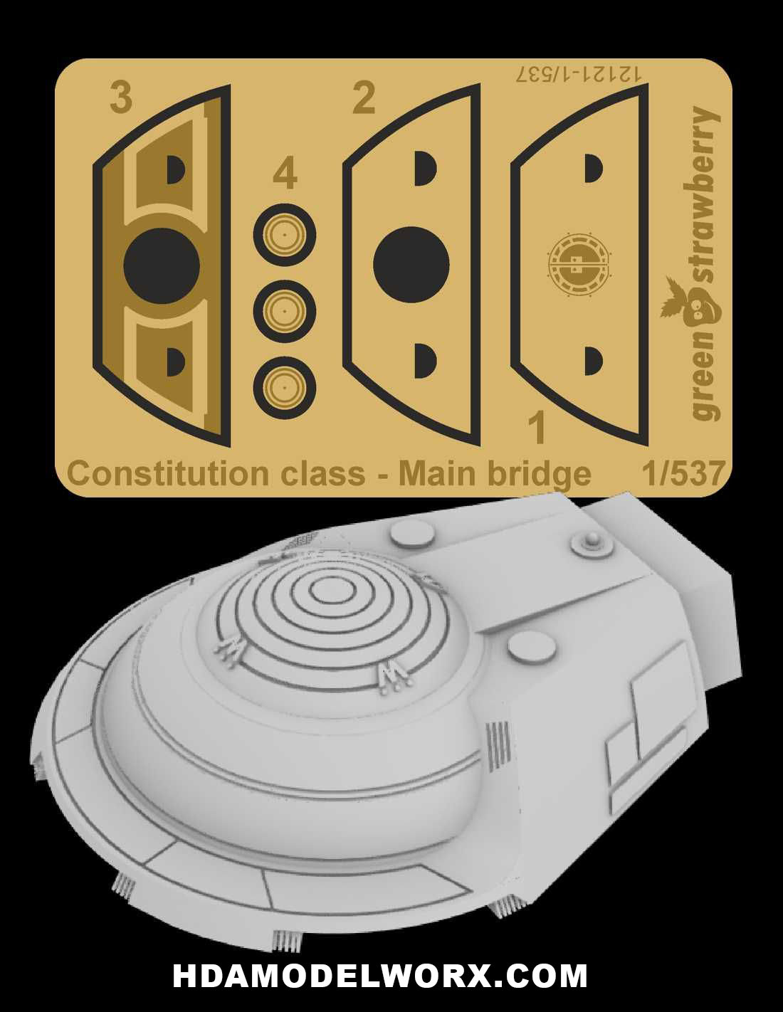 Constitution class (Refit/A) - Main Bridge Resin and Photo Etch Detail Set for the 1/537 Scale AMT Model Kit by Green Strawberry  COMING SOON