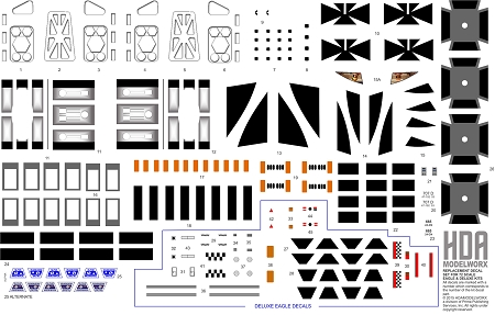 DECAL SET FOR SPACE EAGLE 1:72 SCALE MODEL KIT #MPC791 & MPC816