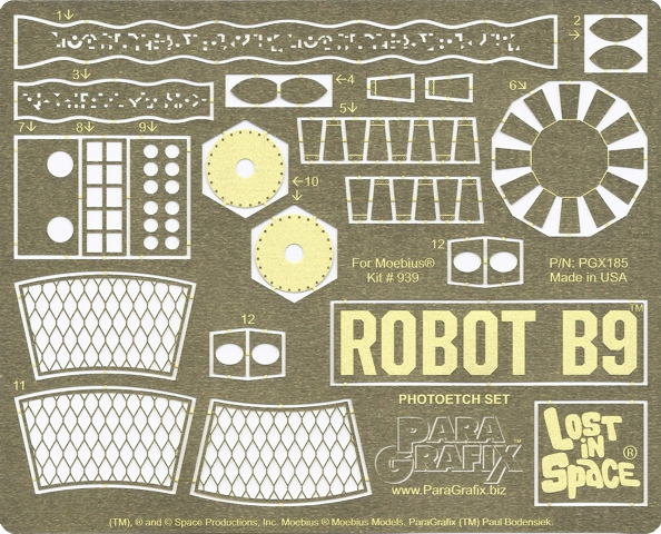 ROBOT B9 Photoetch and Decal Set by Paragrafix for Moebius Models kit 939