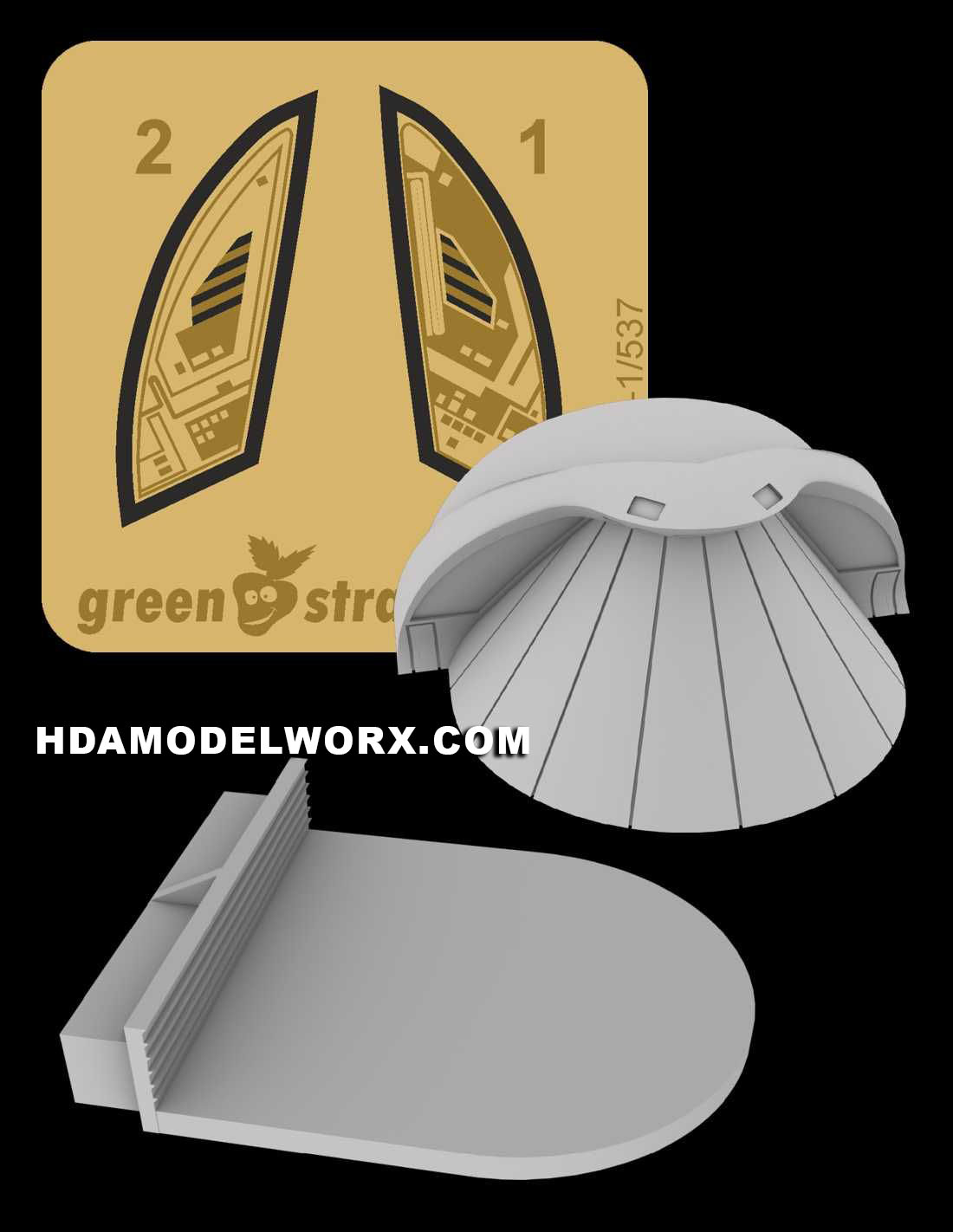 Constitution class (refit) - Hangar Entrance / Shuttle Bay Door Resin and Photo Etch Detail Set for the 1/537 Scale AMT Model Kit by Green Strawberry  COMING SOON
