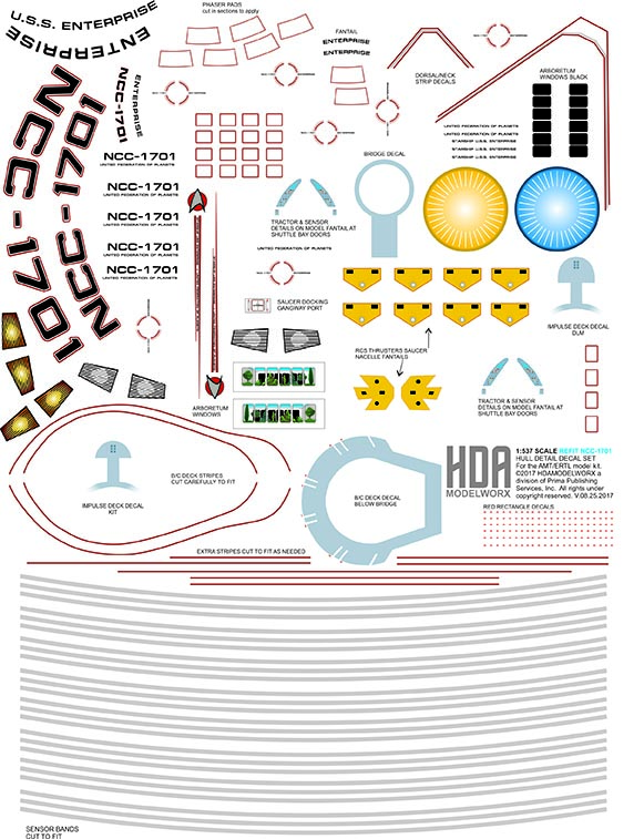 537/600 SCALE USS ENTERPRISE REFIT HULL MARKINGS AND DETAIL DECAL SET