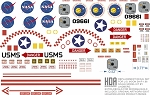 Replacement Decal set for U.S. MOON SHIP 1:96 Scale Model Kit by Lindberg.