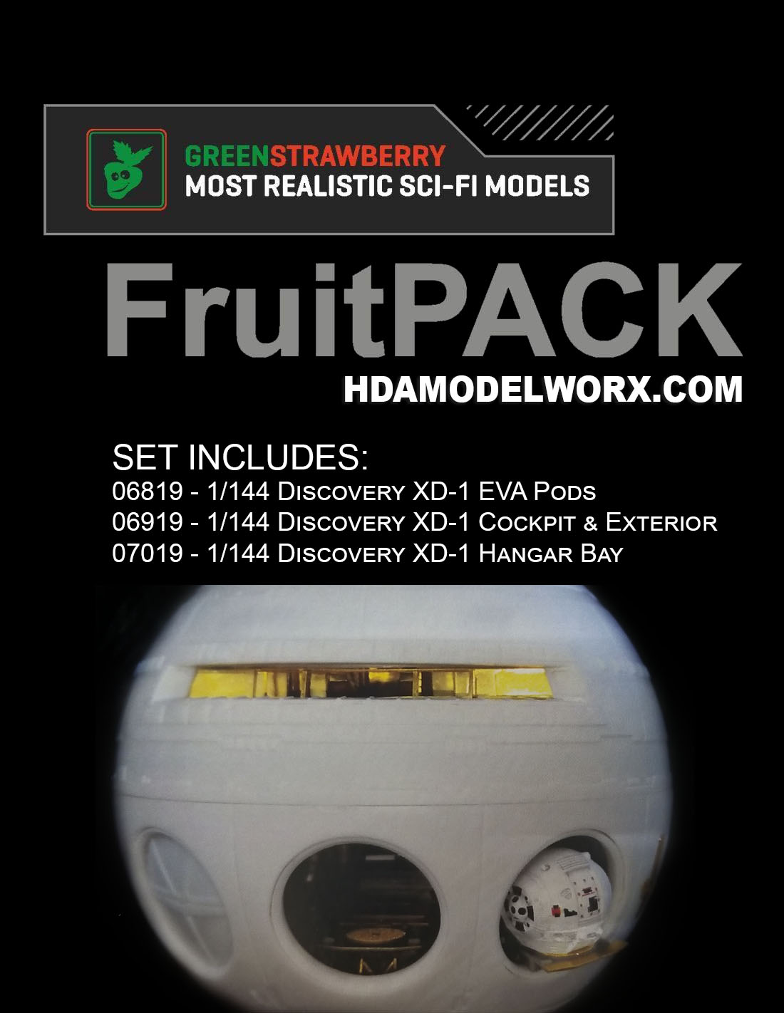 DISCOVERY XD-1 FruitPACK Complete photoetch and resin kits for the Moebius Model Kit by GREEN STRAWBERRY